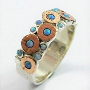 Silver Gold Opal Ring