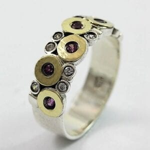 Rhodolite Silver Gold Ring