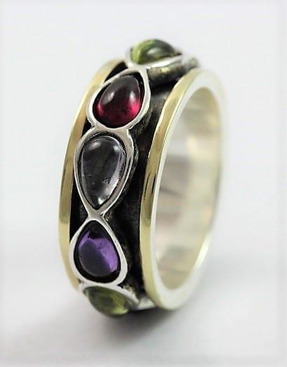 Silver Gold MultiColour Ring.