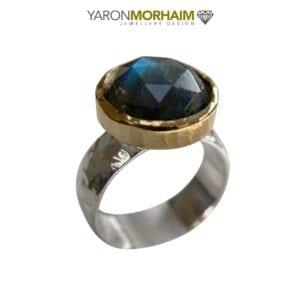Silver Gold Labradorite Ring