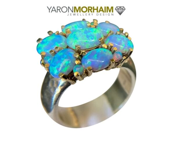 Silver Gold Statment Opal Ring