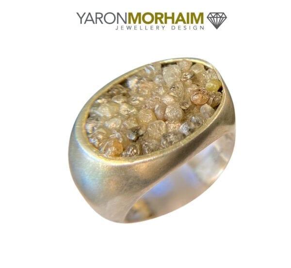 Raw Diamonds Sterling Silver Ring
