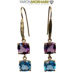 Amethyst Blue Topaz Double Earrings