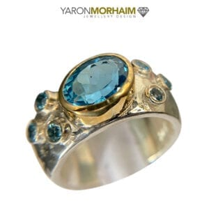 Silver & Gold Ring With Swiss Blue Topaz
