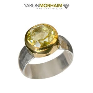 Statment Silver & Gold Ring With Lemon Quartz