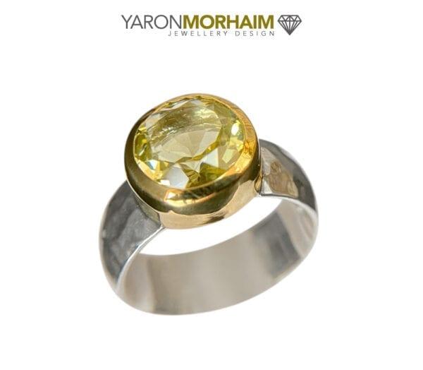 Statment Silver & Gold Ring With Lemon Quartz