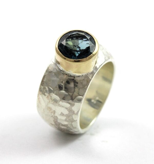 Silver & Gold Ring With London Blue Topaz