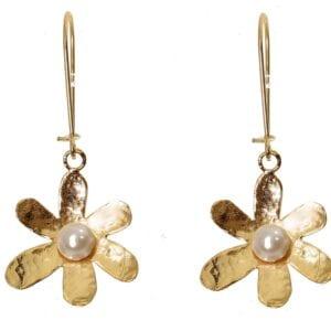 White Pearl Gold Earrings
