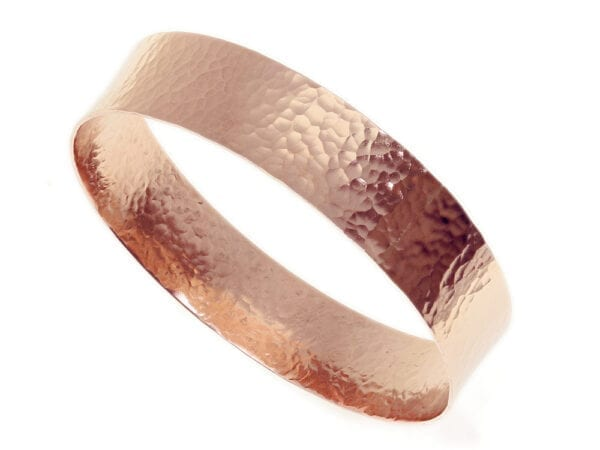 Red Gold Hammered Wide Bangle