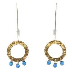 Hammered Gold Hoop Opal Earrings