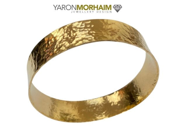 Yellow Gold Hammered Wide Bangle