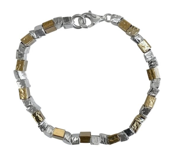Nugget Silver Gold Bracelet. Chic, stylish and full of bohemian charm, this single sterling silver and 14 carat rolled gold.