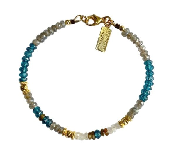 Gold Bracelet With Faceted Tourmaline Moonstone Labradorite London Blue Topaz