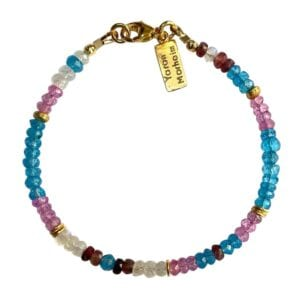 Gold Bracelet With Faceted Blue Topaz, Moonstone, Pink Topaz & Tourmaline Gemstones