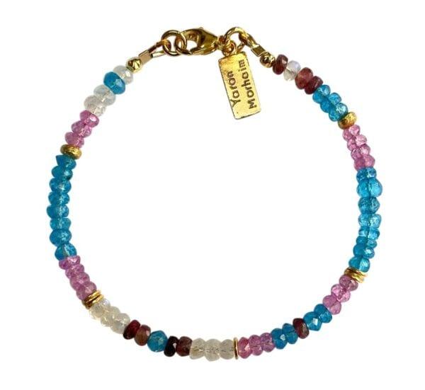 Gold Bracelet With Faceted Blue Topaz, Moonstone, Pink Topaz & Tourmaline Gemstones