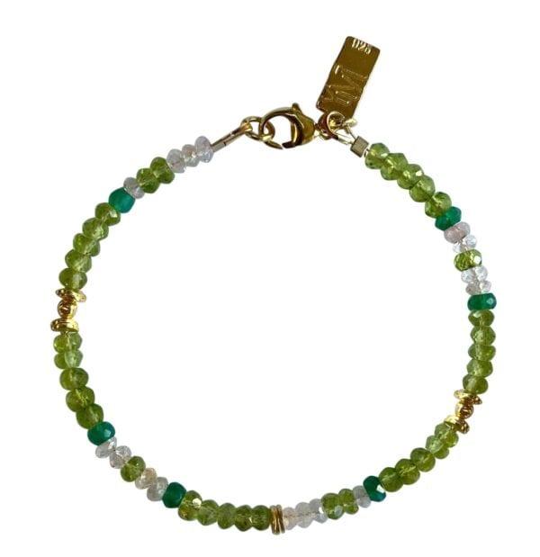 Bracelet Green Onyx Aquamarine
