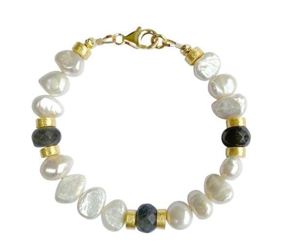 Labradorite & Pearl Gold Bracelet