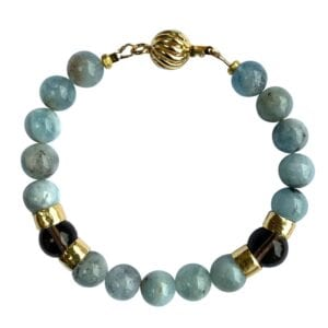 Gold Bracelet With Round Aquamarine & Smoky Quartz