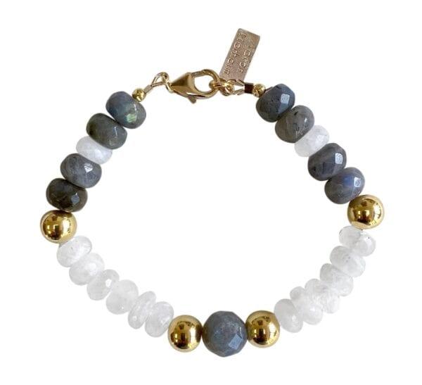 Pearl Labradorite Gold Bracelet