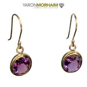 Amethyst Gold Drop Earrings