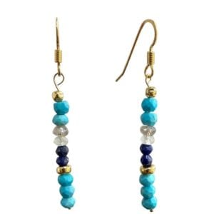 Turquoise Lapis Aquamarine Earrings