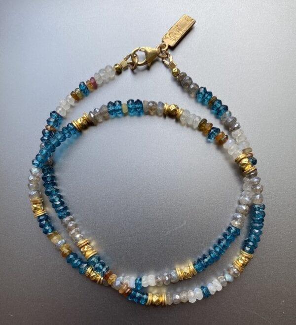 Necklace London Blue Topaz, Tourmaline & Moonstone Gemstones