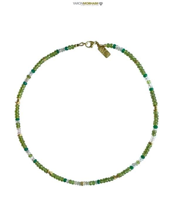 Necklace Peridot Onyx Aquamarine