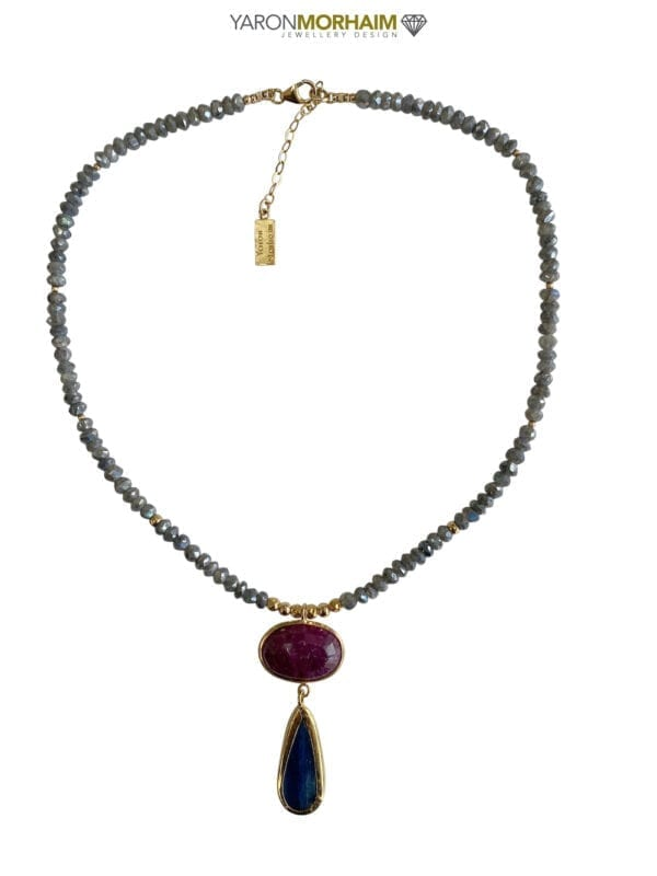 Necklace Labradorite Ruby Lapis