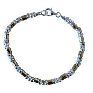 Silver Gold Nuggts Bracelet
