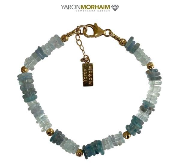 Blue Apatite Aquamarine Gold bracelet