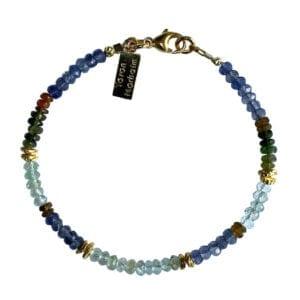 Gold Bracelet Tourmaline Aquamarine Iolite