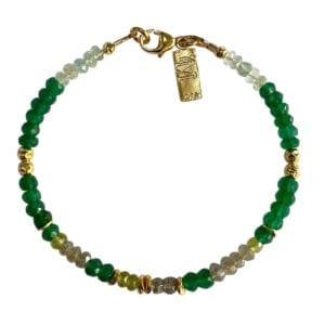 Gold Bracelet With Peridot Labradorite & Aquamarine