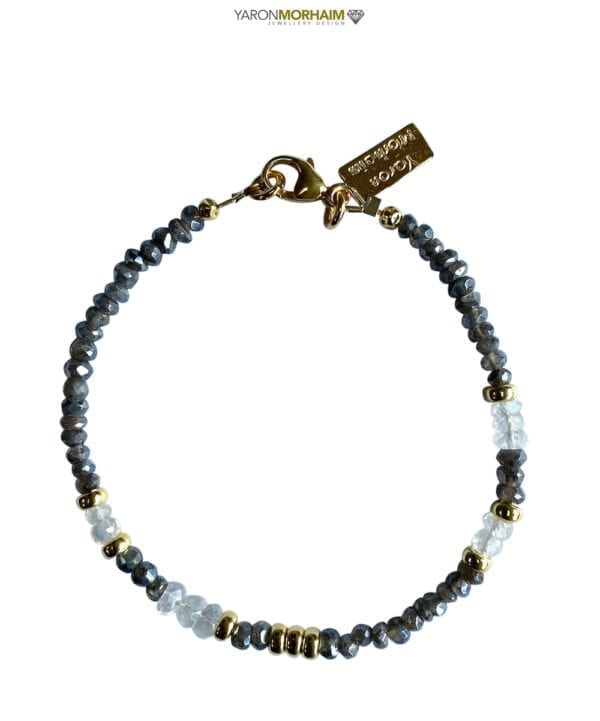 Gold Bracelet With Labradorite Moonstone Gemstones