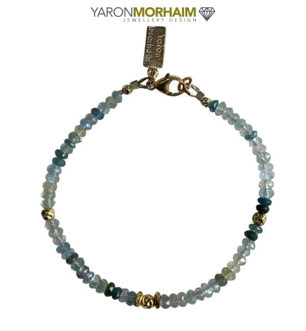 Gold Bracelet Aquamarine & Green Tourmaline