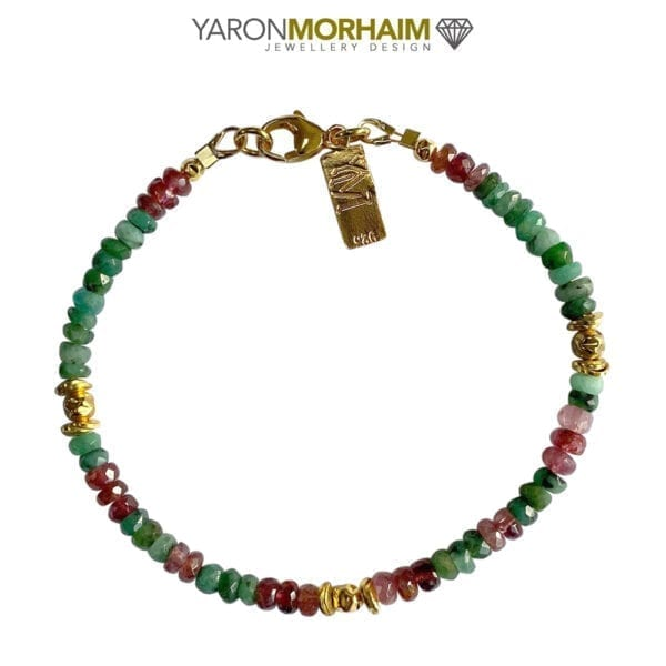Gold Bracelet Multi Colour Tourmaline & Emerald