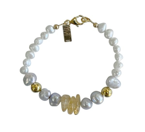 Gold Bracelet With Citrine & Pearls