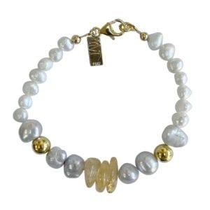 Bracelet Citrine Pearls Gemstones