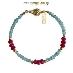 Blue Apatite & Ruby Gold Bracelet