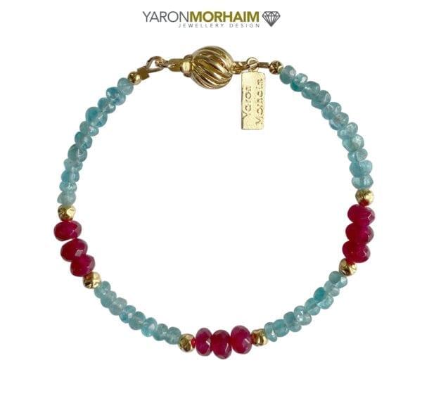 Blue Apatite & Ruby Gold Bracelet