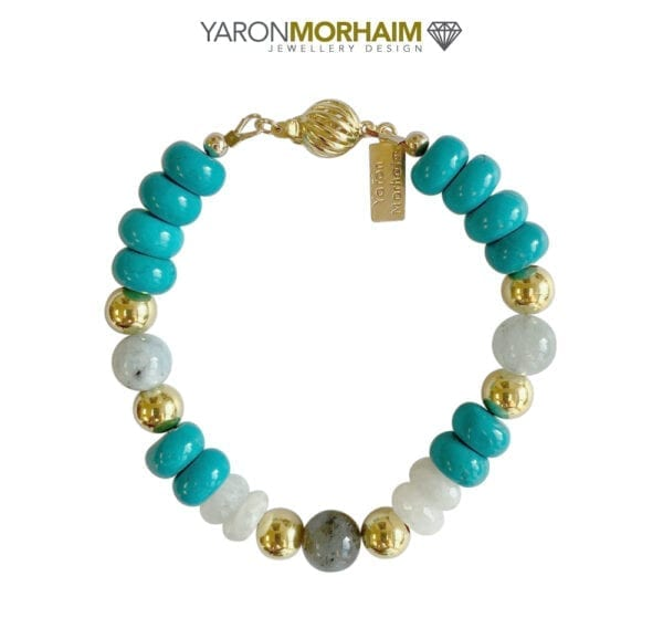 Gold Bracelet With Moonstone Labradorite & Aquamarine