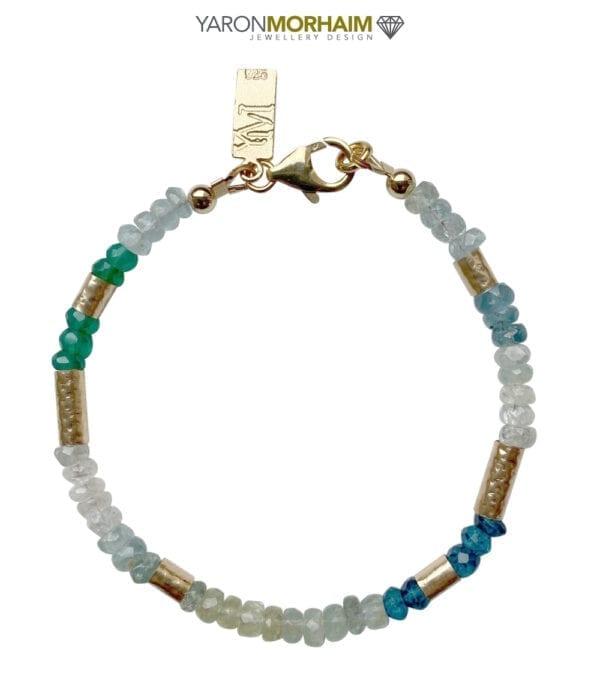 Gold Bracelet Aquamarine Green Onyx