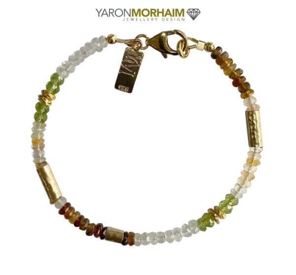 Gold Bracelet With Opal Peridot & Tourmaline