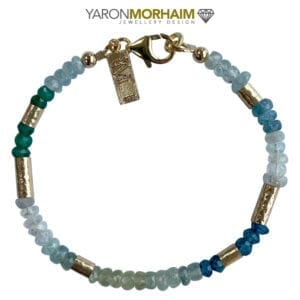Gold Bracelet With Aquamarine & Green Onyx