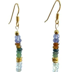 Earrings Tourmaline Aquamarine Iolite