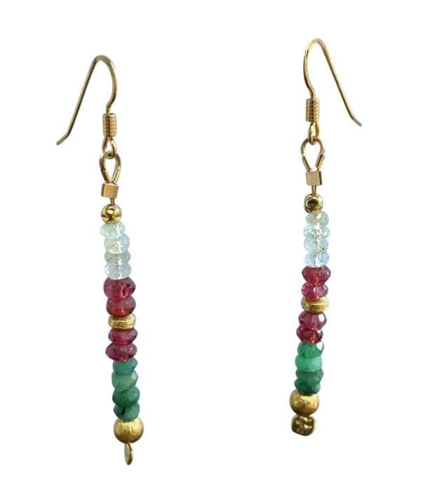 Earrings Emerald Aquamarine Garnet