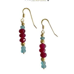 Blue Apatite Ruby Earrings