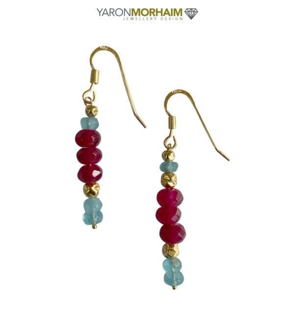Blue Apatite Ruby Earrings