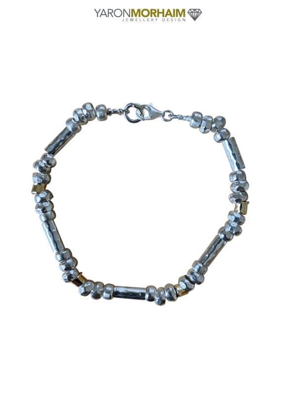 Silver Gold Nuggets Bracelet