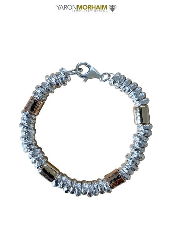 Three Tone Handmade Silver & Gold Bracelet