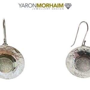 Silver Earrings Iridescent Druzy